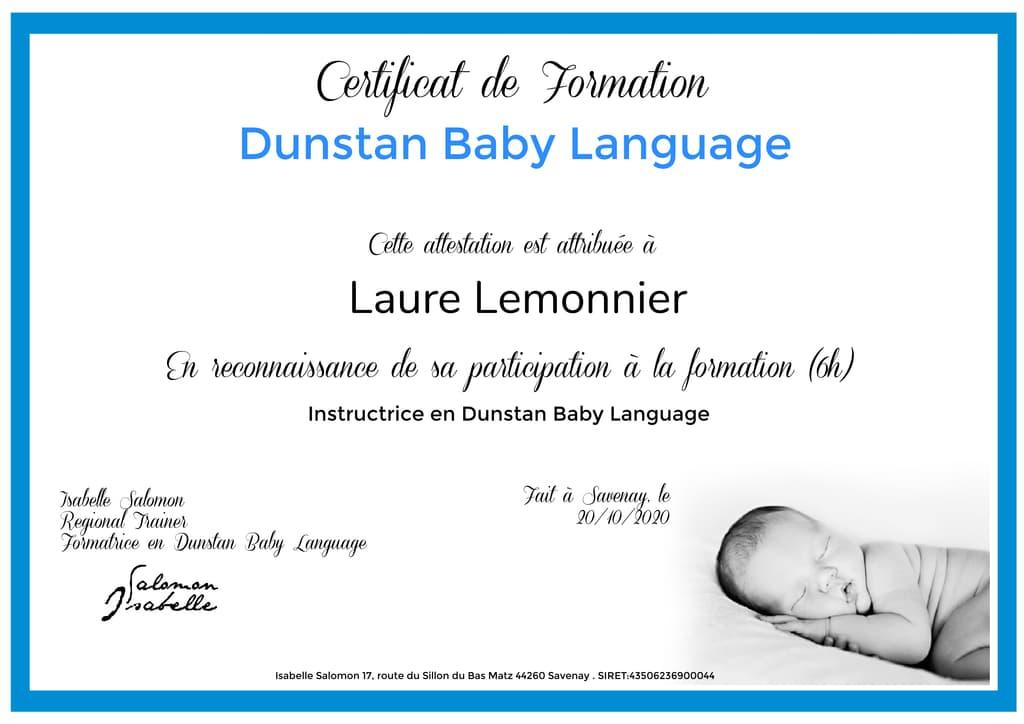 certificat Laure Lemonnier Dunstan Baby Language A propos de Laure